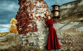 Picture look, landscape, pose, model, makeup, dress, hairstyle, the ruins, brown hair, is, in red, ass, ...