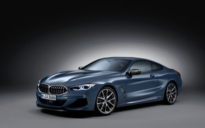 Picture background, coupe, BMW, dark, Coupe, 2018, gray-blue, 8-Series, pale blue, M850i xDrive, Eight, G15