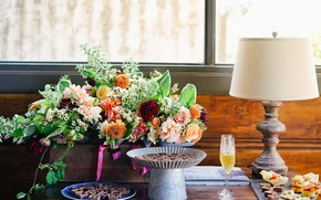 Picture flowers, glass, lamp, bouquet, window, candy, champagne, sweet
