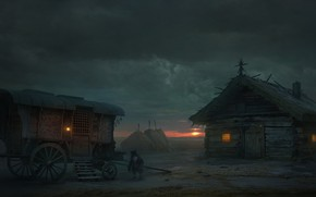 Picture clouds, house, the evening, wagon, dwarf, dwarf