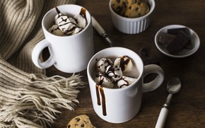 Picture chocolate, cookies, ice cream, Cup, Chocolate, Ice cream