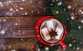 Picture snow, New Year, Christmas, Christmas, wood, snow, New Year, cocoa, decoration, Merry, fir tree, hot …