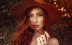 Picture look, girl, portrait, hat, makeup, hairstyle, freckles, the bushes, cute, redhead, bokeh, Anne Hoffmann, kassio. …