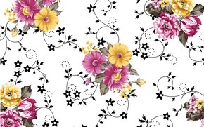 Picture white, flowers, background, pattern, yellow, pink, pattern, leaves, watercolor, floral, seamless