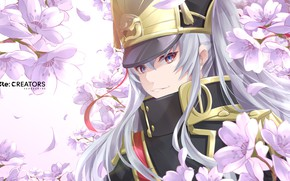 Picture girl, flowers, anime, art, Re:Creators
