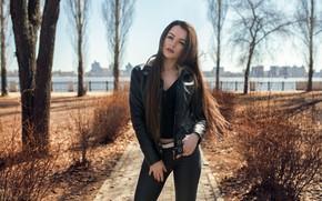 Picture girl, long hair, trees, photo, photographer, blue eyes, park, model, lips, face, brunette, top, pose, …