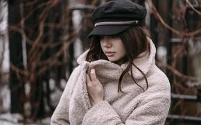 Picture Alina, cap, brown hair, bokeh, coat, Kirill Sokolov