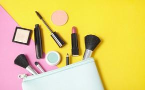 Picture yellow, pink, lipstick, mascara, pencil, brush, cosmetics, powder