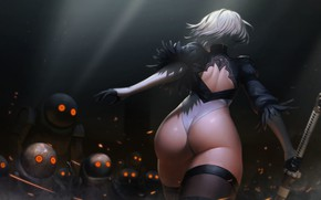 Picture Girl, Ass, Figure, Sword, Android, Back, Buttocks, Art, Nier, Illustration, Characters, Automata, Game Art, NieR, …