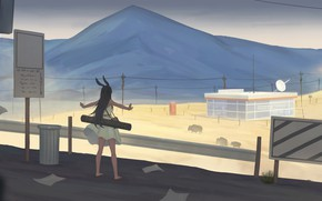 Picture road, girl, ears
