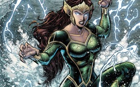 Picture girl, fantasy, sea, crown, splashes, comics, redhead, artwork, suit, superhero, fantasy art, DC Comics, Aquaman, ...