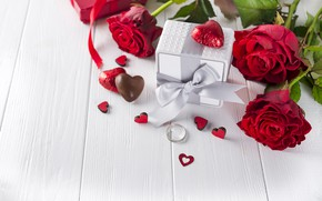 Picture flowers, gift, roses, bouquet, hearts, red, red, love, flowers, romantic, hearts, chocolate, valentine's day, roses, …