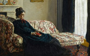 Picture Meditation, Claude Monet, 1870-1871, Mrs. Monet Sitting on a Sofa