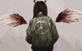 Picture blood, the world, angel, girl, pacifism