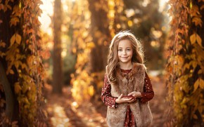 Picture autumn, smile, girl