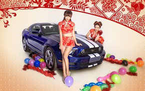 Picture auto, look, balls, holiday, Ford, Girls, beautiful girls