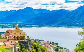 Picture mountains, lake, Switzerland, Alps, Church, Maggiore, Locarno, Sanctuary of Madonna del Sasso, Church of Madonna …