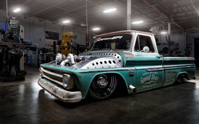 Picture Chevrolet, Car, Old, Truck, Custom, Low, Garage, Engine, C10