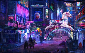 Picture the city, fiction, street, horse, advertising, signs, cyberpunk