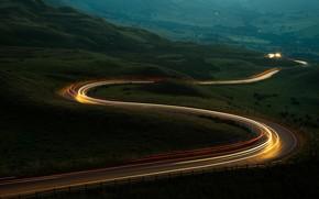 Picture road, serpentine, night