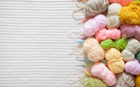 Picture background, spokes, balls, hooks, knitting, yarn, knitted