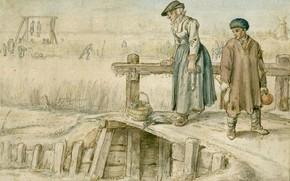 Picture figure, Hendrick Avercamp, Hendrick Avercamp, 1595, A woman and a boy on the bridge