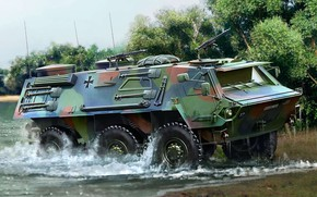 Picture Transport tanks, German armored personnel carrier, wheel floating combat armored vehicle, TPz 1 Fuchs A4