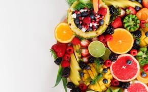 Picture berries, kiwi, strawberry, fruit, pineapple, BlackBerry, citrus