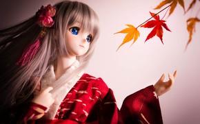 Picture doll, kimono, maple