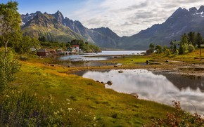 Picture water, landscape, mountains, nature, lake, home, village, Norway, The Lofoten Islands, Lofoten