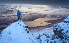 Picture winter, clouds, snow, mountains, lake, stones, rocks, people, height, top, panorama, climber, Scotland, Stac Pollaidh, …