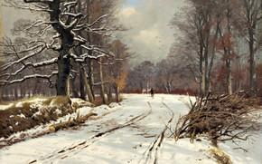 Picture Danish painter, oil on canvas, Vinterbillede fra skovene ved Hillerød, Of Thorvald NISS, Danish landscape …