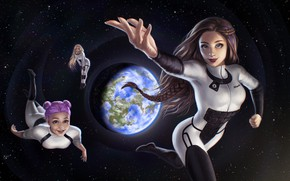 Picture space, girls, Earth
