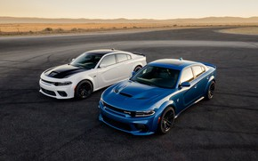 Picture Dodge, Cars, Charger, Hellcat, SRT, Muscle cars, Widebody, Scat Pack, Blue & White