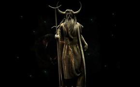 Picture Statue, Horns, Staff, Black background, Veles, Slavic God, Sasha, Gregerman, Cattle God