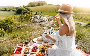 Picture field, summer, girl, nature, berries, wine, basket, back, hat, dress, strawberry, grapes, picnic, buns