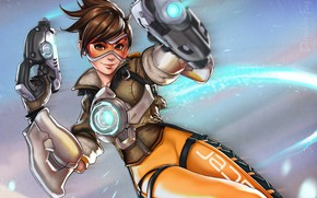 Picture Girls, Art, Art, Character, Overwatch, Tracer, Lena Oxton, Tracer, Game Art, Lena Oxton, by Dandonfuga, …