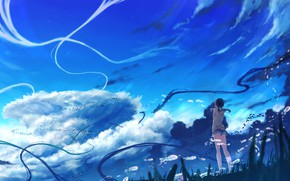 Picture The sky, Clouds, Girl, Hina Amano, Child Of The Weather