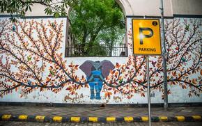 Picture elephant, India, Delhi, Parking full