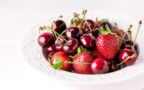 Picture cherry, berries, food, strawberry, plate, white background, cherry