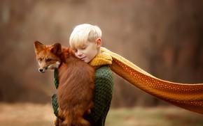Picture mood, boy, scarf, Fox, red, friends, bokeh, Julia Soboleva