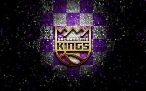 Picture wallpaper, sport, logo, basketball, NBA, Sacramento Kings, glitter, checkered
