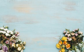 Picture flowers, background, frame, colorful, wood, flowers, bright