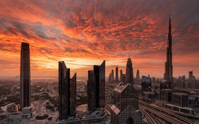 Picture sunset, the city, Dubai