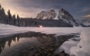 Picture winter, forest, snow, mountains, lake, hut, Canada, Albert, house, hut, Banff National Park, Alberta, Lake …