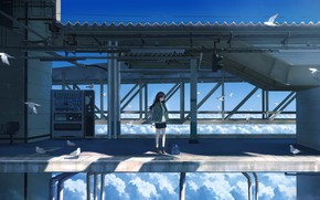 Picture girl, clouds, bridge, height