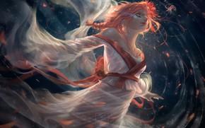 Wallpaper water, girl, face, fantasy, art, kimono