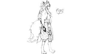 Picture minimalism, fan, tail, guy, ears, Onmyouji, Onmyoji, Onmyouji (NetEase), Youko