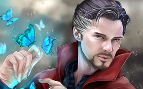 Picture butterfly, magic, art, MAG, Benedict Cumberbatch, Benedict Cumberbatch, Doctor Strange, Doctor Strange, Doctor Stephen Vincent …