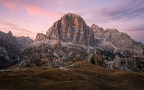 Picture autumn, the sky, clouds, trees, mountains, stones, rocks, hills, the slopes, tops, mountain, morning, top, …